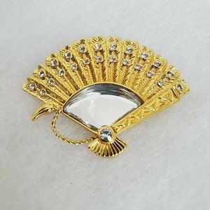 Vintage Swarovski Swan Mark Fan Figural Brooch Pin